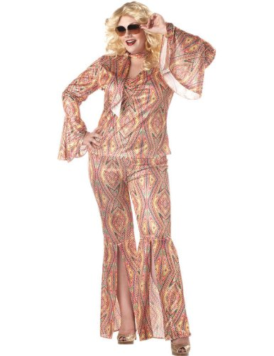Women's DiscoLicious 70s Fancy Dress Costume (Plus Size) Dress 18 to 20