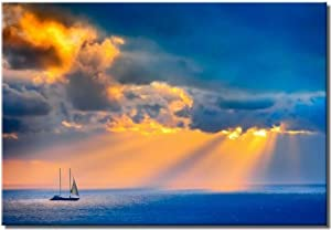 Picture Sensations Framed Large 24x36 Canvas Art Sailing Boat - Force Of Nature Giclee Canvas Print