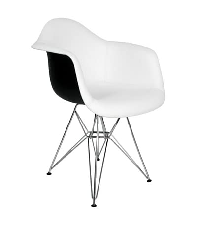 Stilnovo Mid Century Arm Chair, White/Black/Chrome