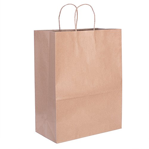 Halulu Brown Kraft Paper Bags, Shopping, Mechandise, Party, Gift Bags - Recycled Paper Bag 13x7x17
