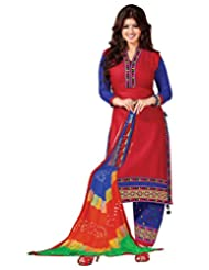 Surat Tex Red Color Casual Wear Embroidered Satin Cotton Semi-Stitched Salwar Suit