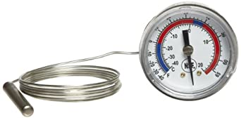 "Miljoco V20662102-48 Vapor Dial Thermometer, 2"" Dial, -40-65 F Range, +/-1 F Accuracy, Plain U-Clamp Connection, 48"" Probe Sensor"