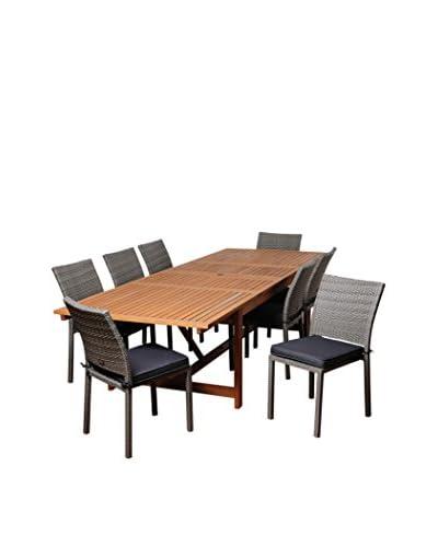 Amazonia Novice 9-Piece Eucalyptus Wicker Extendable Rectangular Dining Set with Cushions, Brown/Grey