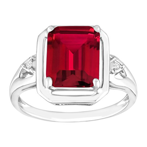 2 3/4 ct Emerald-Cut Created Ruby Ring with Diamonds