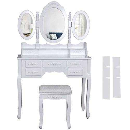 Songmics 3 specchiera Tavolo Cosmetici Mobile da Trucco da toeletta con sgabello comò con specchio RDT91W