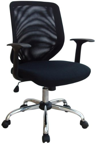 Buy Low Price Comfortable Mesh Screen Back and Chrome Base Chair – Mid Back Contemporary Executive, Black, Fabric, Computer, Desk, Mesh Office Chair – W95 (B0039O5FBS)
