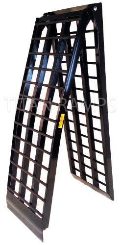 9' Black Aluminum Single Folding Wide Arched HD 4 Beam Motorcycle loading ramp
