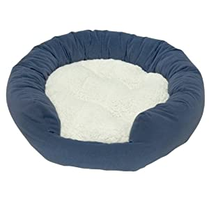 Happy Hounds Murphy Donut Small 24-Inch Dog Bed, Denim