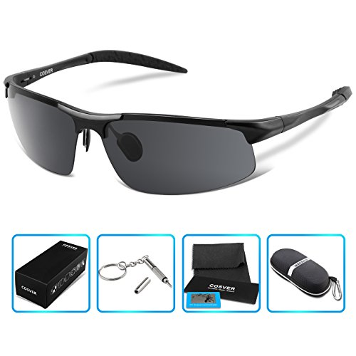 COSVER Polarized Sports Sunglasses for Mens Women Driving Cycling Running Fishing Golf Unbreakable – Metal Frame Al-Mg Glasses