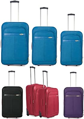 "20"" Single Cabin Case or Set ot 2 or Set of 3 Super Lightweight EXPANDABLE Suitcases Luggage Set***Sky Blue*Purple*Red*Pink*Black***"