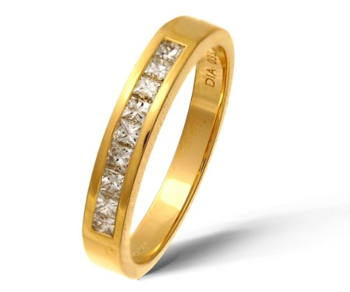 9ct Yellow Gold 0.33ct Princess Cut Diamond Channel Set Half Eternity Ring