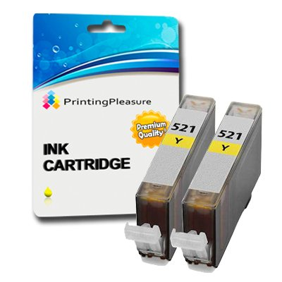 2 x CANON Pixma MP630 Hohe Qualität Kompatibel Drucker Tinte Patronen Ohne Chip - Drei Gelb CLI521Y (Also compatible with Canon Pixma iP3600 iP4600 IP4700 MP540 MP550 MP560 MP620 MP630 MP640 MP980 MP990 MX860 MX870) by Printing Pleasure PREMIUM