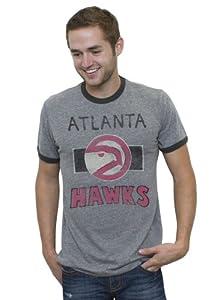 NBA Atlanta Hawks Mens Vintage Tri-Blend Short Sleeve Ringer T-Shirt, Steel Black... by Junk Food