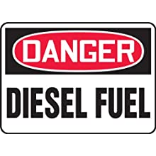 "Accuform Signs, Danger Diesel Fuel, 10"" X 14"", Aluminum"