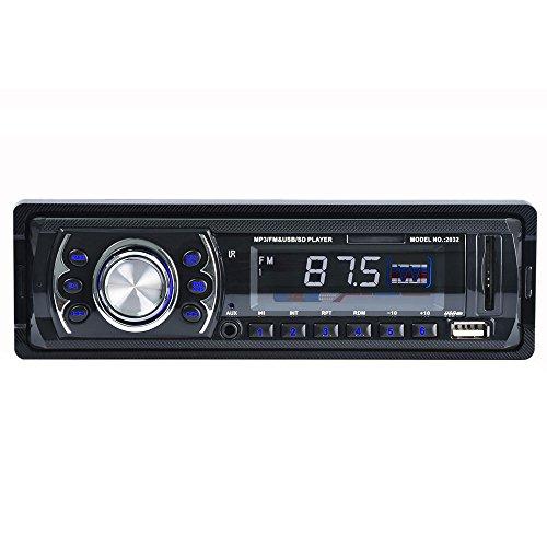 Car Stereo Receiver, Masione 12V Head Unit Single DIN In Dash Audio FM Radio, SD/USB/AUX MP3 Player, Remote Control (Car Stereo Unit compare prices)