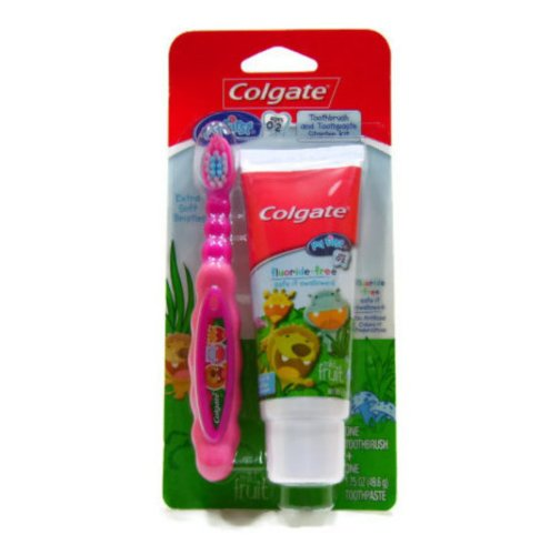 Colgate My First Toothbrush and Toothpaste Starter Kit - Pink, Ages 0-2 - 1
