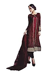 Namrah Collection Women's Georgette Embroidered (4009, Maroon)
