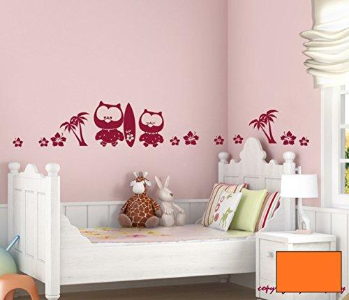 Graz-design-sticker-mural-motif-fleurs-et-chouette-surfer-motif-chouettes-palmiers-m554-choix-de-couleur