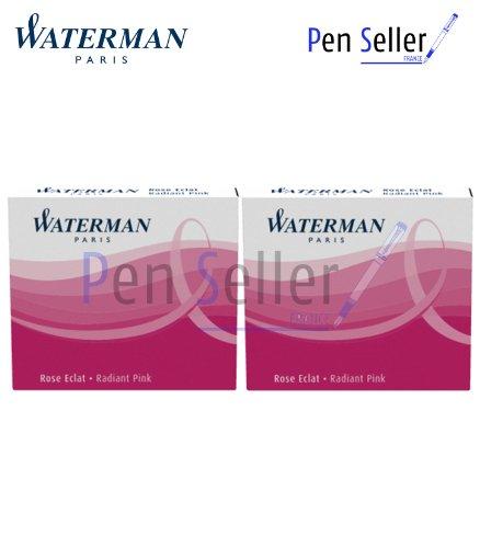Waterman - 2 Etuis de 6 Mini Cartouches Encre Rose Eclat, non Effaçable.