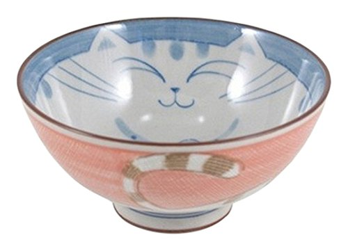 Japan Bargain Smiling Pink Cat Porcelain Rice Bowl 4 1/2in #HR54/P