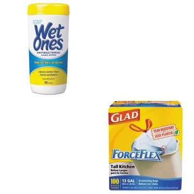 Kitcox70427Plx4672 - Value Kit - Wet Ones Antibacterial Moist Towelettes (Plx4672) And Glad Forceflex Tall-Kitchen Drawstring Bags (Cox70427) front-982419