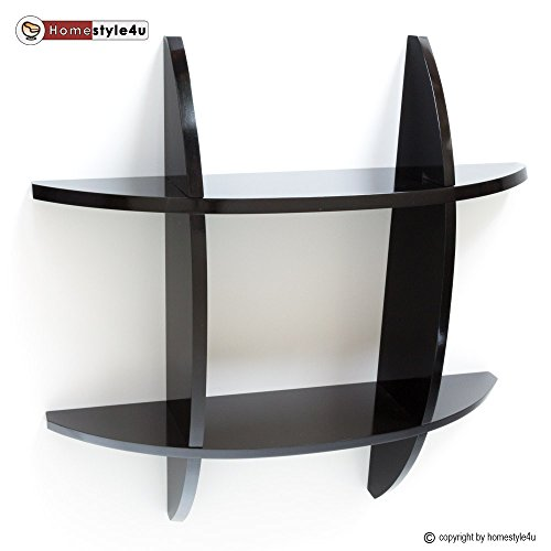 Homestyle4u Wandregal Cube Wandboard Retro Regal Bücherregal schwarz Regale