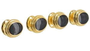 Mens Shirt Studs Classic Oval Black Gold Plated Push Through Buttons