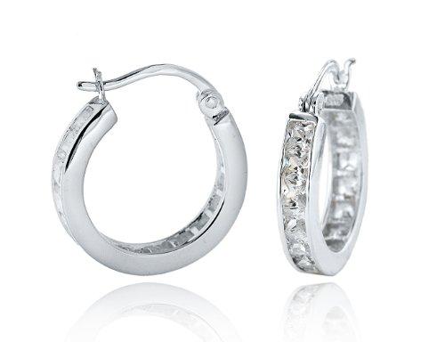 Silver White Cubic Zirconia Hoop Earrings