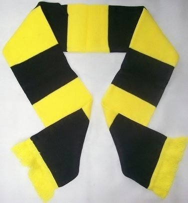 Cambridge United Yellow and Black Retro Bar Scarf by 1000 Flags (Cambridge United compare prices)