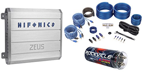 Hifonics Zeus ZRX616.4 600 Watt RMS 4-Channel Car Amplifier+Capacitor+Amp Kit (Hifonics Zeus 1000 Watt Amp compare prices)