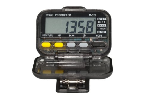 Cheap Robic Walk and Run Mode Scanning Pedometer (M329-SmokeBrown)