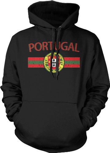Portugal Crest International Soccer Sweatshirt, Portuguese Pride Mens Hoodie