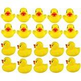 Viskey 20pcs Yellow Ducks Baby Bath Tub Bathing Rubber Squeaky Toys