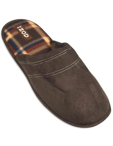 Cheap Izod – Mens Scuff Slipper, Dark Brown 29247 (B008CHG09S)