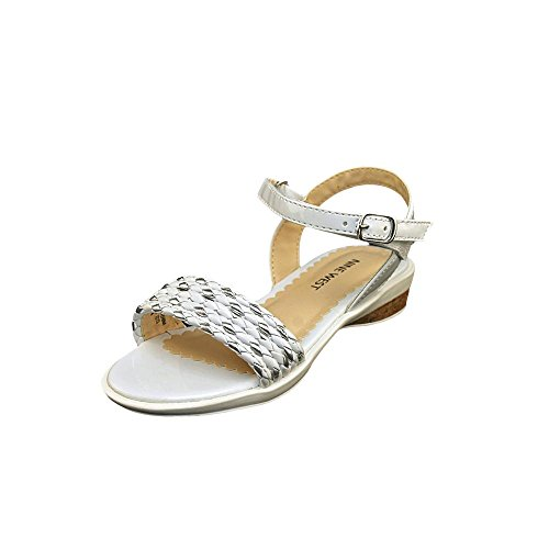 pictures of Nine West Edie-K Rubber Wedge Sandal (Toddler/Little Kid/Big Kid),White Polyurethane,7 M US Big Kid