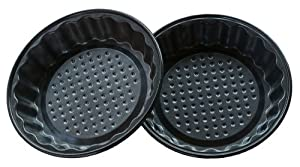 (6 Pack) Round Fluted Mini Pie Pans Non-Stick Carbon Steel