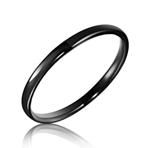 Bling Jewelry 2mm Tungsten Carbide Black Unisex Ring - size 10