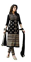 KANHA TRADING Women's Georgette Salwar Suit Unstitched Dress Material (KANHA TRADING 96_Black_Freesize)