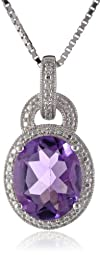 Sterling Silver Amethyst and Diamond-…