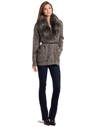 Kenneth Cole Women's Sweater With Removable Faux Fur Collar, Mushroom Combo, Large
