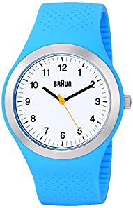 Braun Men's Quartz Watch with White Dial Analogue Display and Blue Silicone Strap BN0111WHBLG