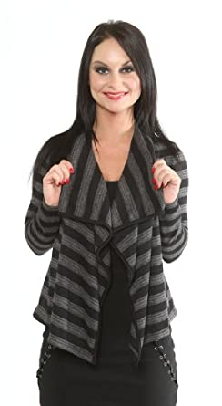 Perpetual Vogue Black Grey Striped Cropped Cardigan Shrug Womens Sizes: Small