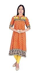 Rama Women Printed Cotton Charming Anarkali Kurti (Orange, Size- XXX Large)