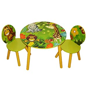 Kids Wooden Round Table And Chairs Set With Storage - Jungle by Worldwide Specials LLC
