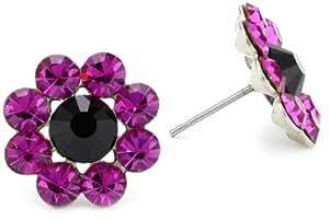 """Tarina Tarantino """"Iconic"""" Purple Crystal Flower Earrings"""