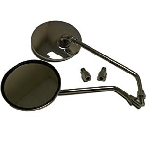 Ryde Round Motorcycle/Scooter Mirrors - Chrome