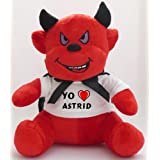 Diablo de peluche (juguete) con Amo Astrid en la camiseta (nombre de pila/apellido/apodo)