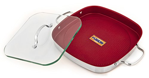Kevin Dundon SKD2GRILLRD Signature Square 11-Inch Grill Pan with Dual Handle and Glass Press, Red (Kevin Dundon Nonstick Cookware compare prices)