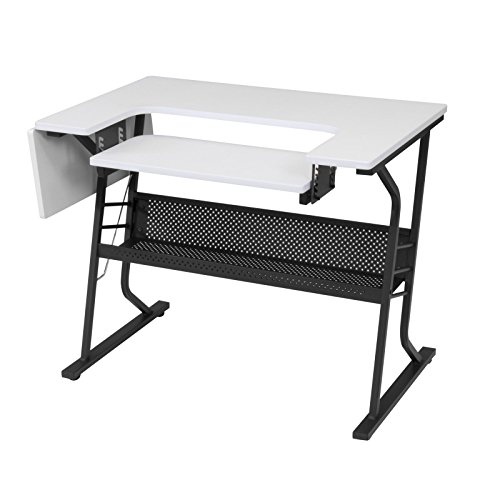 Studio Designs Eclipse Sewing and Craft Table, Black/White