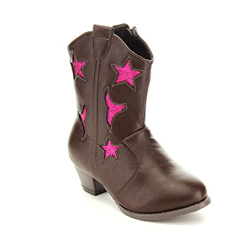 Jelly Beans Gega Kid'S Big Girls Chunky Heel Star Western Style Knee High Boots, Color:Brown, Size:13